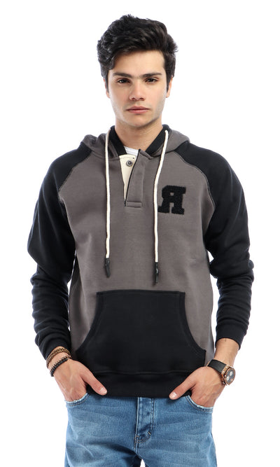 50683 Buttoned Hooded Neck With Front Pocket Sweatshirt - Charcoal Grey & Black