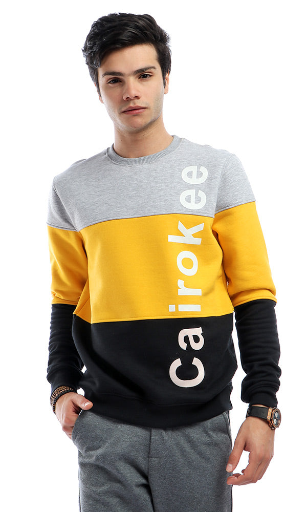 Tri-Tone Casual '' Cairokee Collection'' Winter Hoodie - Grey & Mustard
