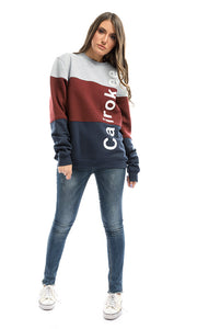 CairoKee Collection Tri-Tone Rounded Sweatshirt - Burgundy , Grey & Navy Blue