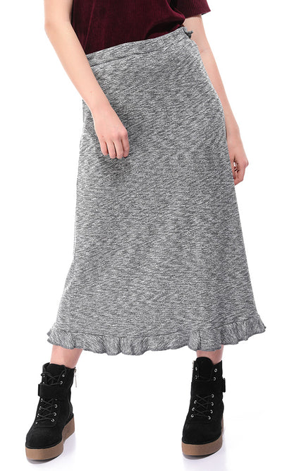 50771 Heather Grey Zipped Back Midi Skirt