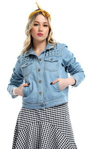 Buttoned Jacket With Studded Touch On The Shoulder - Light Blue Jeans