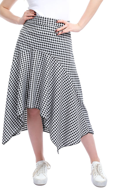 50865 Gingham Zipped Back Summer Short Skirt - Black & White