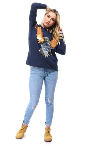 50875 Sequins Eagle Navy Blue Crew Sweatshirt