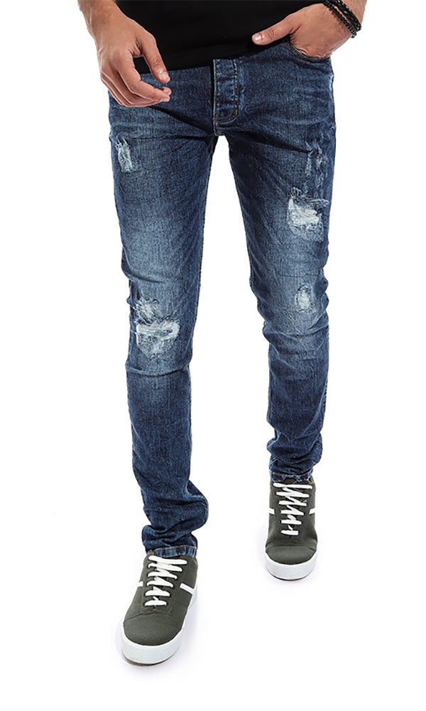 Ribbed Men Jeans - Dark Blue