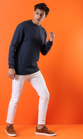 50894 Plain Comfortable Traditional Petrol Basic Pullover