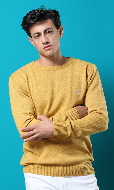 50899 Round Plain Casual Mustard Basic Pullover