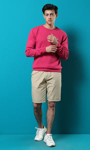 50900 Rounded Plain Long Sleeves Basic Pullover - Fuchsia