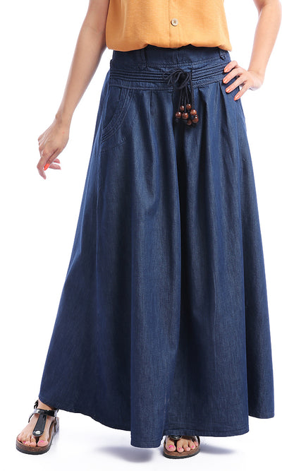 50926 Dark Blue Jeans Long Skirt With Side Pockets