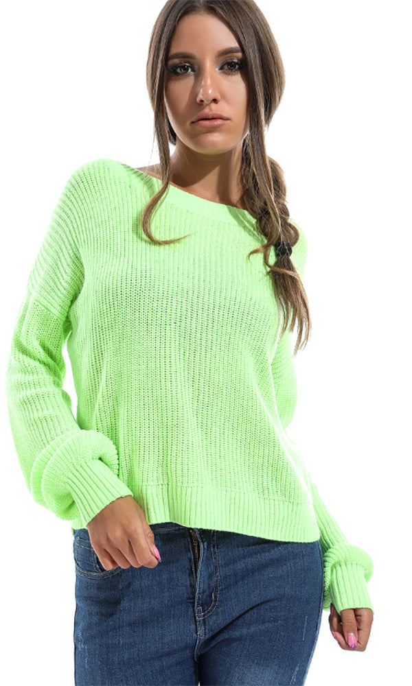Solid Women Pullover - Lime