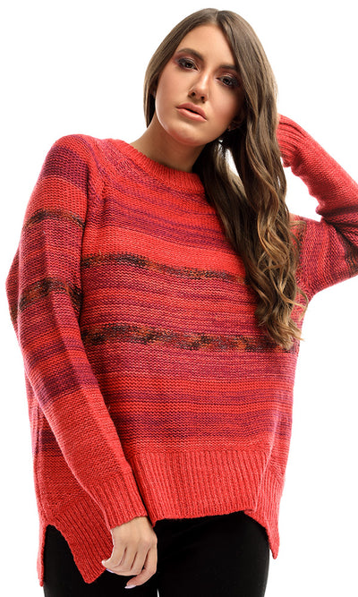 50947 Colorful Knitted Rounded Casual Pullover - Heather Red