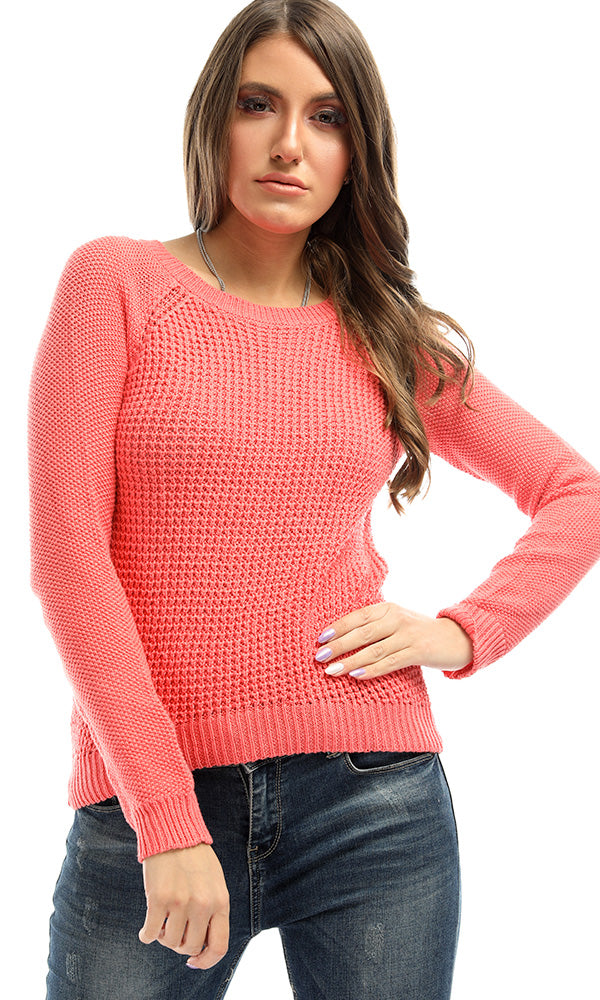 Knitted Rounded Coral Warm Pullover