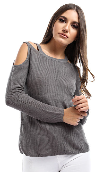 50951 Cold Shoulder Cutouts Grey Pullover