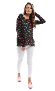 50965 Floral Rounded Black Heavy Pullover