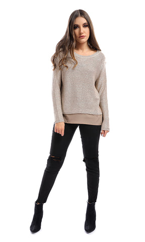 50977 Love Me Now Beige Glittery Pullover