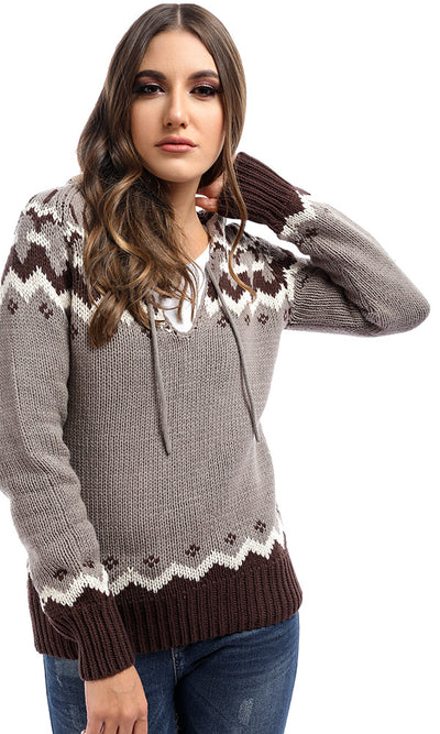 50981 Phenomenon Taupe Hooded V Neck Pullover