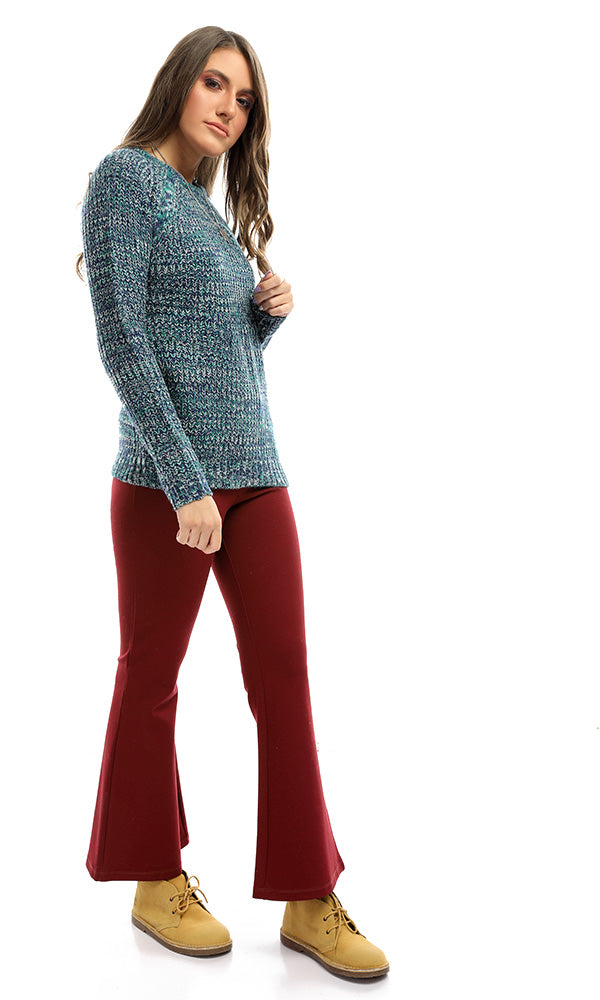 50991 Sewing Winter Casual Chic Heather Blue Pullover