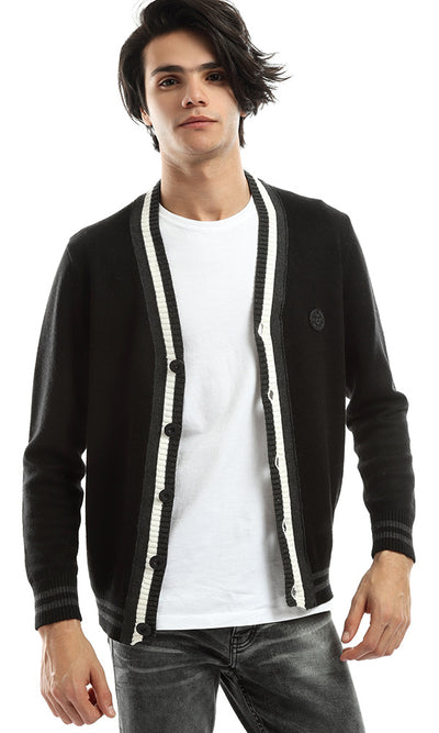50995 Striped Buttoned Casual Winter Cardigan - Black