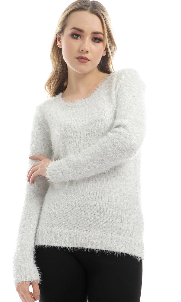 MoHair Round Collar Pullover - Offwhite