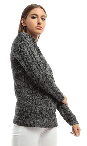 51011 Turtle Neck Easy Heather Grey Pullover