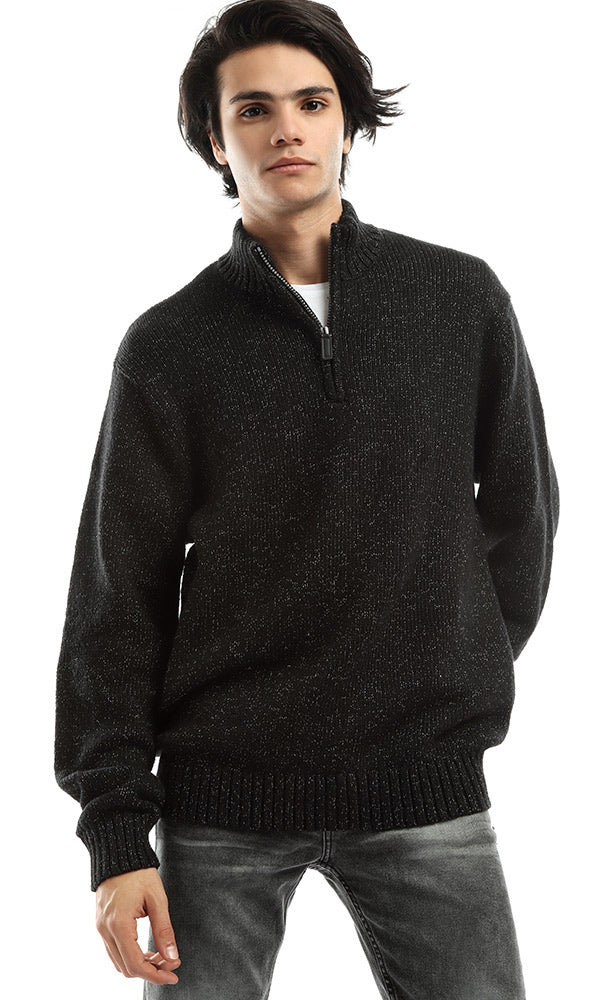 Zipped Collar Basic Unique Pullover - Heather Black