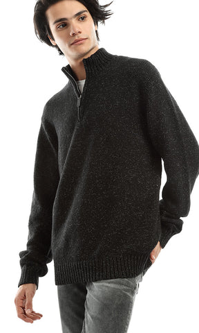 51017 Zipped Collar Basic Unique Pullover - Heather Black