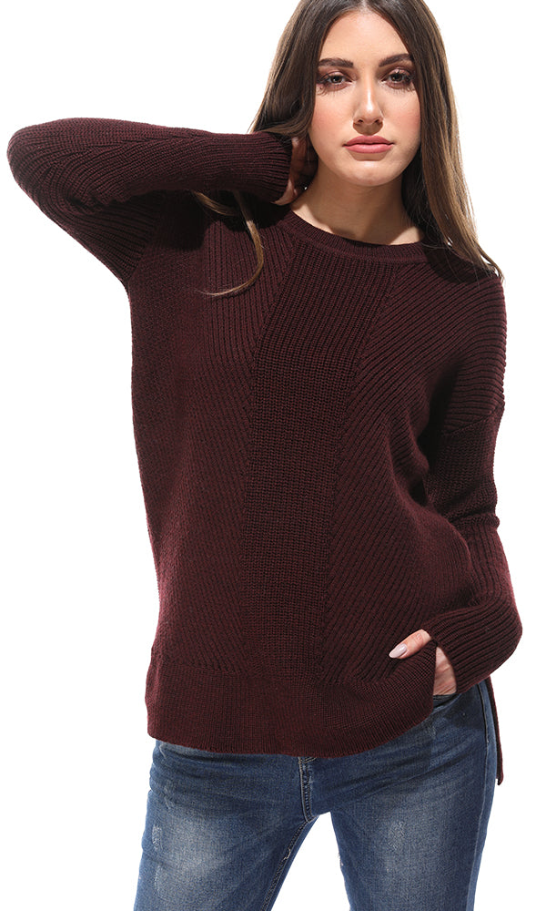 Ribbed Knit Hi-Low Maroon Pullover