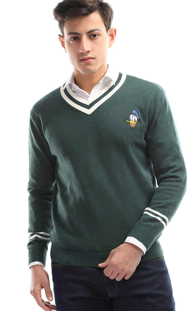 Batoot Solid V-Neck Pullover - Green
