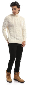 Funnel Neck Off White Jumper