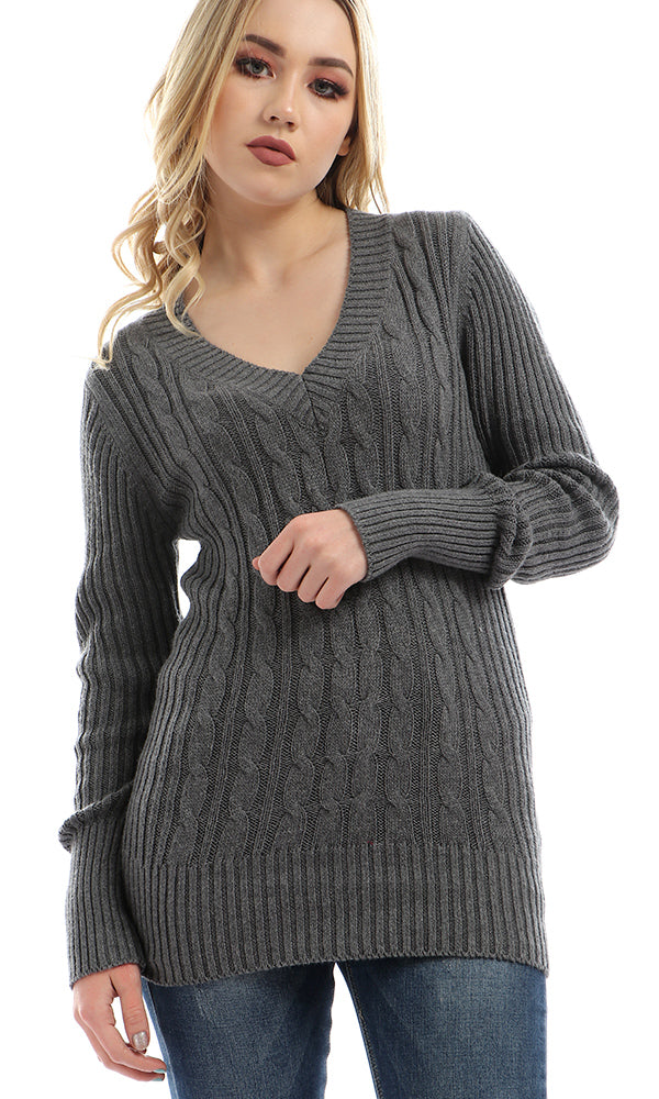 Slim Fit Knitted Pullover - Dark Grey