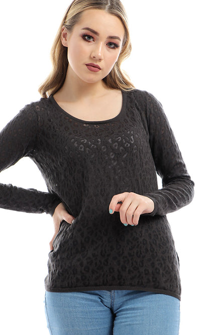 51046 Transparent Animal Pattern Pullover - Heather Grey