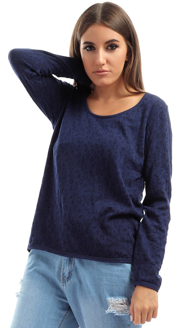 51048 Acrylic Leopard Patterned Casual Pullover - Navy Blue