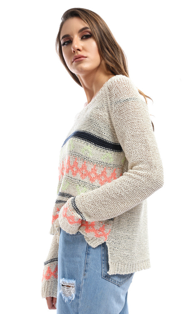 Keep It Colorful Beige High Low Pullover