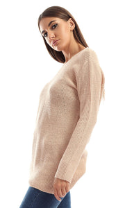 51091 Scoop Solid Long Sleeves Beige Pullover