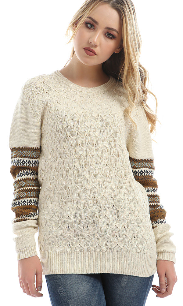 Side Sleeve Winter Pattern Pullover - Dark Off White