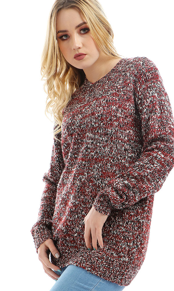 Fashionable Chunky Knit Slip On Dark Red Pullover
