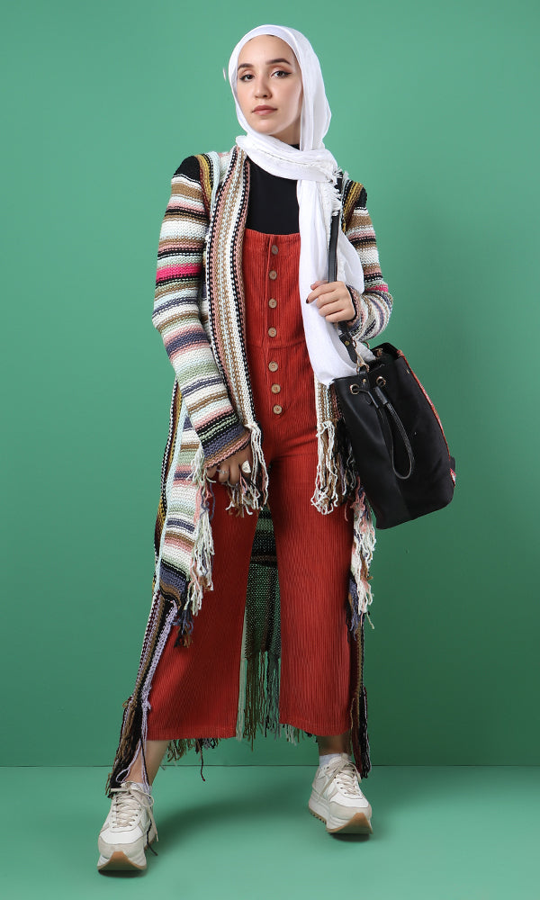 Casual Cardigan With Fringes - Multicolour