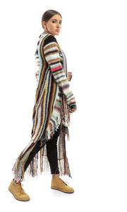 51104 Casual Cardigan With Fringes - Multicolour