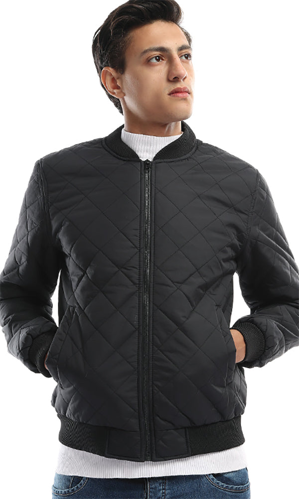 On Trend Men's Bomber Black Zip Jacket