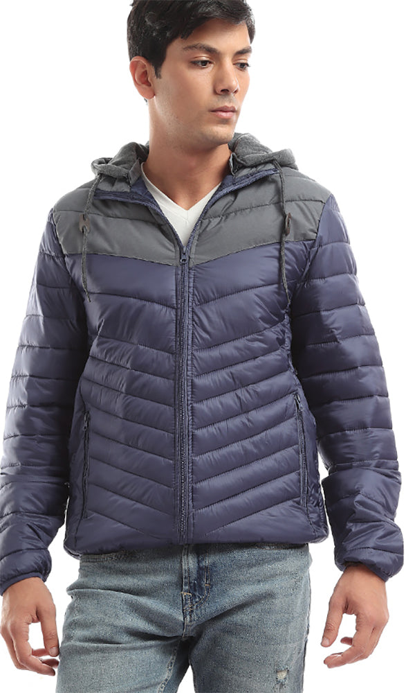 On Trend Hooded Bi-Tone Bomber Zip Jacket - Navy Blue &Grey