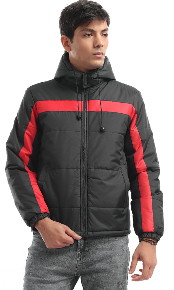 On Trend Hooded Bi-Tone Bomber Zip Jacket - Black & Red