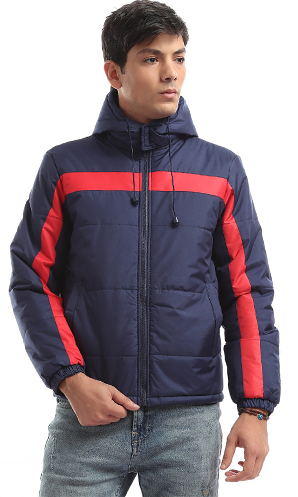 On Trend Hooded Bi-Tone Bomber Zip Jacket - Navy Blue & Red