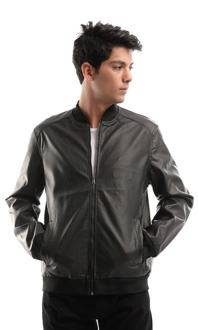 51111 Zipped Elegant Leather Black Jacket