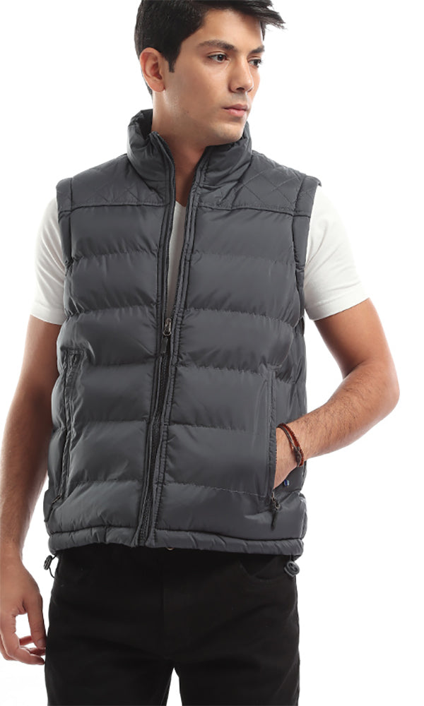 Casual Padded Zip Medium Grey Vest