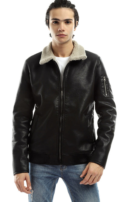 51116 Unique Zipped Warm Leather Black Jacket