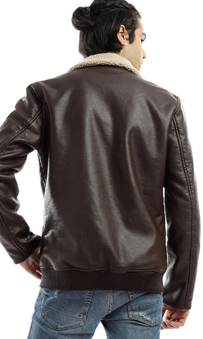 Specular Zipped Chic Brown Leather Jacket