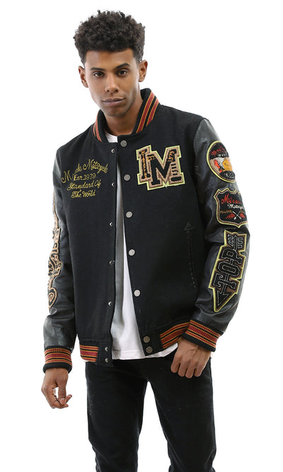 51120 Miracle Magnetic Buttoned Leather Black Jacket With Some Decorations
