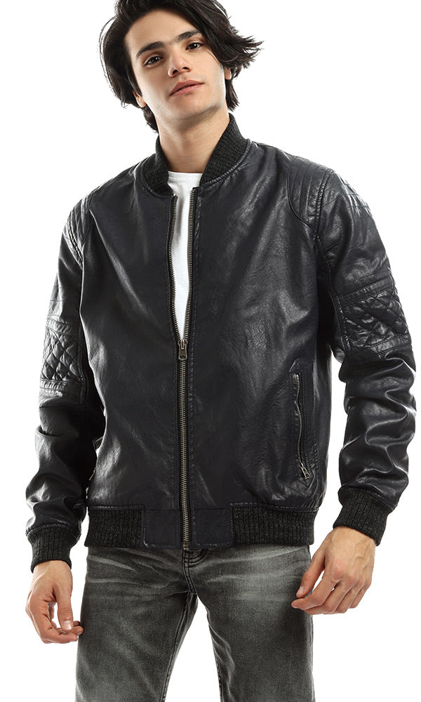 Newest Leather Navy Blue Zipped Casual Jacket