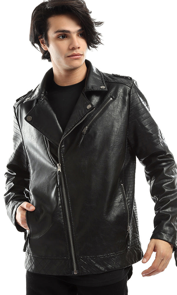 Shine Zipped Leather Winter Jacket - Black