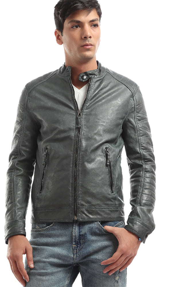 Edgy Pocket Zip Leather Jacket - Dark Green