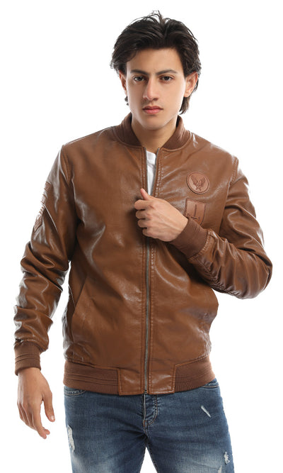 51132 Badges Brown Leather Jacket